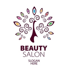 peacock logo for beauty salon vector image
