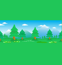 pines seamless line in mountain landscape vector image