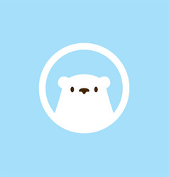 Polar bear head round emblem logo icon vector