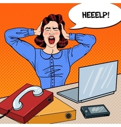 Pop art angry frustrated woman screaming at office vector