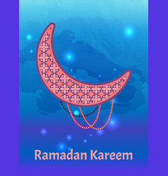 ramadan kareem poster crescent muslim prayer beads vector image