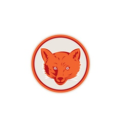Red Fox Head Front Circle Retro vector