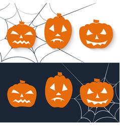 Scary pumpkin icon set halloween greeting vector