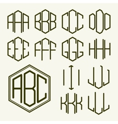 Set 1 template letters to create a monogram vector