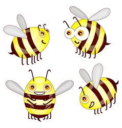Set cartoon cute bees isolated on white background vector image