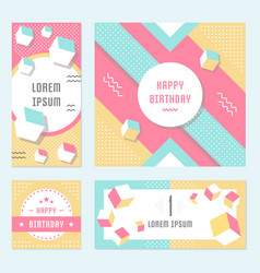 set geometric pattern flyers and banners vector image