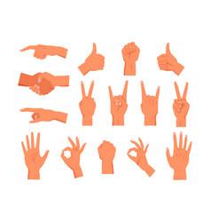 Set hand gesture non verbal palm symbol vector
