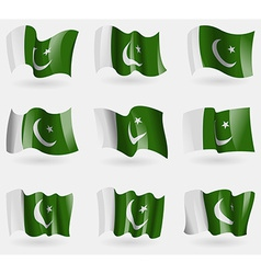 Set of Pakistan flags in the air vector