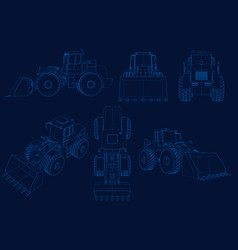 set of wireframes with bulldozers of blue lines on vector image