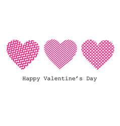 set pink hearts valentines day celebration love vector image
