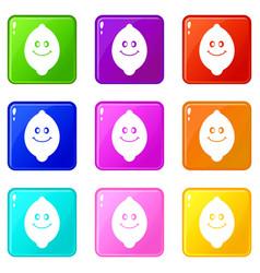 smiling lemon fruit set 9 vector image