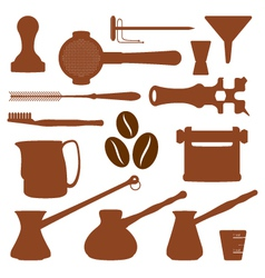 solid colors coffee set instruments vector image