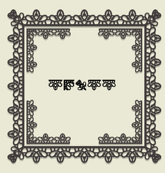 Square lace frame corner elements and pattern vector