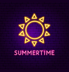 summertime neon label vector image