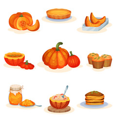 tasty pumpkin dishes set pie soup jam jar vector image