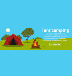 tent camping banner horizontal concept vector image