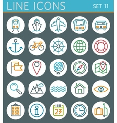 Travel line icons set Summer holidays web design vector image