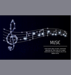 Treble clef musical notes polygonal vector