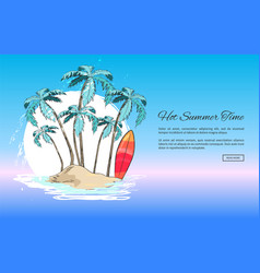 Tropical island with palms and bright surfboards vector