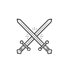 two crossed swords hand drawn outline doodle icon vector image