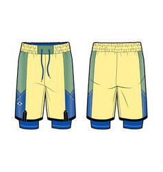 Two-in-one sports shorts with contrast elements vector
