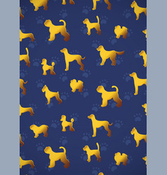 Vertical card pattern with yellow gold dogs on vector