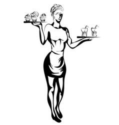 Waitress silhouette vector