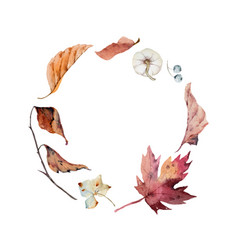watercolor autumn wreath with leaves vector image