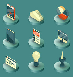Web design color isometric icons vector