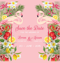 Wedding card with tropical flowers flamingo vector