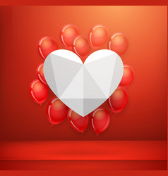 white heart on a red wall with flying balloons vector image