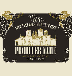 wine label with landscape of village and grapes vector image