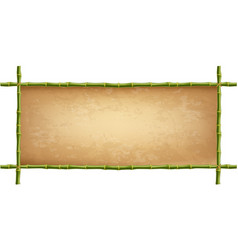 Wooden frame of green bamboo sticks with vintage vector