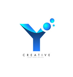 y letter logo design with 3d and ribbon effect vector image