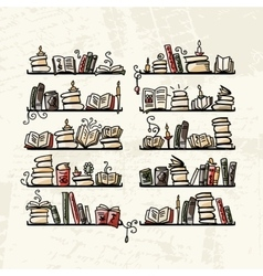 Book shelves sketch for your design vector image vector image
