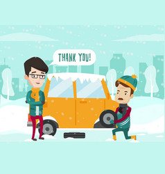 man helps to change the car tire on winter road vector image