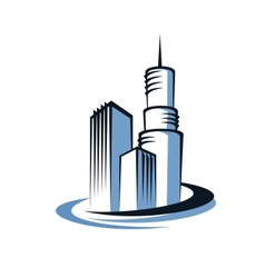 Modern city and communications tower vector image vector image