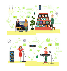 set of radio people symbols icons in flat vector image vector image