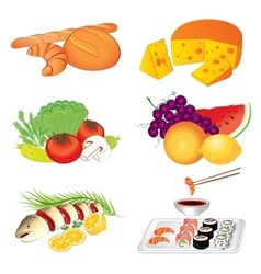 Set of various tasty food on white vector image vector image
