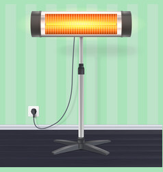The quartz halogen heater with the glowing lamp on vector
