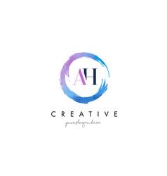 ah letter logo circular purple splash brush vector image vector image