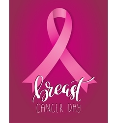 Breast Cancer Awareness pink Ribbon with lettering vector image