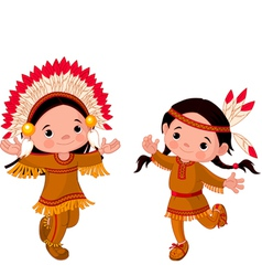 cute couple of american indians children dancing vector image vector image