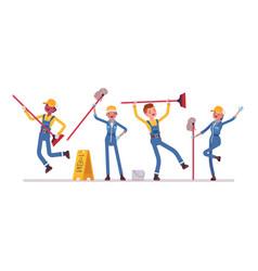 dancing janitors team vector image