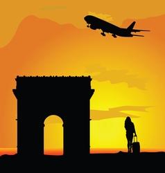 famous monuments arc de triomphe vector image vector image