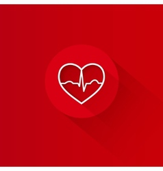 Flat long shadow red heart ecg design vector image vector image
