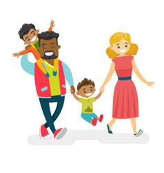 happy multiracial family walking and having fun vector image