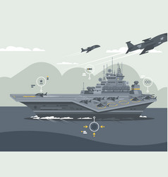 military aircraft carrier vector image