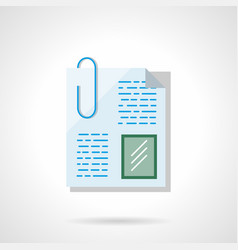 paperclip file flat color icon vector image