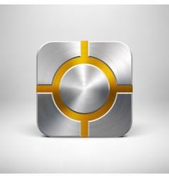 Technology App Icon Template with Metal Texture vector image vector image